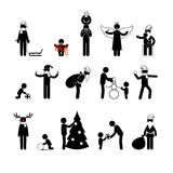 Christmas&new year stick figures Stock Photos