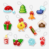 Christmas and New Year stickers, holiday symbols Royalty Free Stock Photo