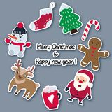 Christmas and New Year stickers made of paper with a shadow, arranged in a circle. stock illustration