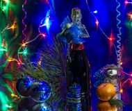 Christmas, New Year. Christmas still life with champagne and Christmas decorations Stock Photo
