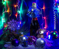 Christmas, New Year. Christmas still life with champagne and Christmas decorations Royalty Free Stock Image