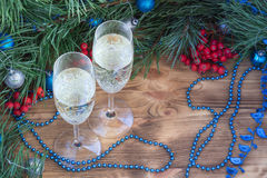 Christmas and New Year still life, champaign, pine, ornament dec. Christmas and New Year still life composition with two champaign glasses, pine tree acerose stock photography
