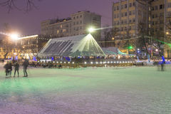Christmas new year street lighting in the night Moscow Royalty Free Stock Photos