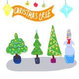 Christmas or New year stripes and stylized trees . Design element for festive banner, card, invitation, postcard. Vector royalty free illustration