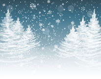 Christmas, New Year. The stylized image of spruce trees on a winter day. Snow in winter forest. Snowflakes. illustration. Christmas, New Year. The stylized image Royalty Free Stock Image