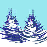 Christmas, New Year. The stylized image of trees with a winter day illustration. Christmas, New Year. The stylized image of trees with a winter day. Vector Stock Image