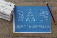 Christmas And New Year Symbols Blueprint Stock Image