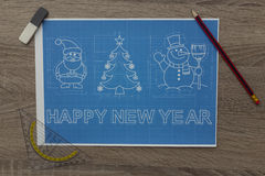 Christmas And New Year Symbols Blueprint Royalty Free Stock Images