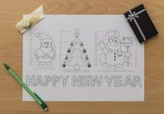 Christmas And New Year Symbols Blueprint Stock Photography