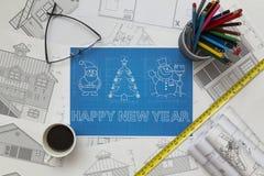 Christmas And New Year Symbols Blueprint Stock Photos