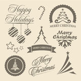 Christmas and New Year symbols and design elements. Christmas and New Year symbols for postcard, invitation, poster and others Decoration collection. Set of stock illustration