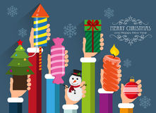 Christmas and New Year symbols and gifts Royalty Free Stock Photos