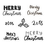 Christmas New Year symbols: pine, gift, candy, deer, bell, toy, lettering, Holly berry, snow man, cane, mitten, bauble. Collection of vector illustration of Royalty Free Stock Photography
