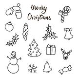 Christmas New Year symbols: pine, gift, candy, deer, bell, toy, lettering, Holly berry, snow man, cane, mitten, bauble. Set of outline hand drawn icons and Royalty Free Stock Image