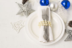 Christmas and New year table place setting with christmas decora Royalty Free Stock Photos
