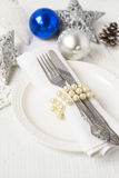 Christmas and New year table place setting with christmas decora Stock Images