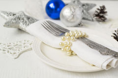 Christmas and New year table place setting with christmas decora Royalty Free Stock Image
