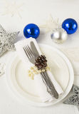Christmas and New year table place setting with christmas decora Stock Photos
