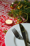 Christmas and New Year table place setting with christmas decora Royalty Free Stock Images