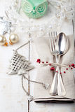 Christmas and New year table place setting with decorations. stock images