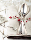Christmas and New year table place setting with decorations. Royalty Free Stock Photography