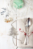 Christmas and New year table place setting with decorations. Stock Image
