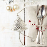 Christmas and New year table place setting with decorations. Royalty Free Stock Images