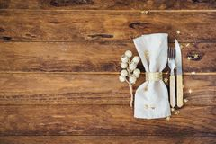 Christmas and New year table place setting over wooden background. stock image