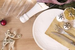 New Year table setting royalty free stock image