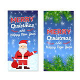 Christmas and New Year templates set for web banners, greeting c. Ards, invitations from hand drawSanta Claus, snowflake, pine branches Stock Photography