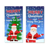Christmas and New Year templates. Set for web banners, greeting cards, invitations from hand draw Santa Claus, snowflake, pine Royalty Free Stock Image