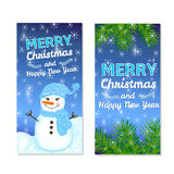 Christmas and New Year templates set. For web banners, greeting cards, invitations from hand draw snowman, snowflake, pine branches Royalty Free Stock Images