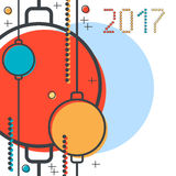 Christmas and New Year 2017 thin line flat vector illustration. Greeting or invitation card template Stock Photography