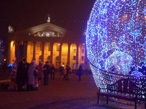 Christmas and New Year in the town square. royalty free stock photography