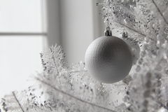 Christmas and new year toys and balls on the tree Stock Photos