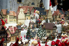 Christmas (new year) toys in the market Stock Photography