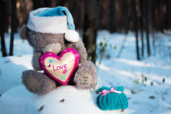 Christmas and new year. Toys teddy bear in the wood stock photos