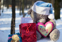 Christmas and new year. Toys teddy bear in the wood stock photography
