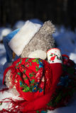 Christmas and new year. Toys teddy bear in the wood royalty free stock images