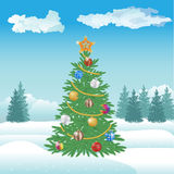 Christmas and New Year tree with balls and celebrated star royalty free illustration