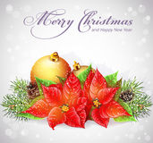 Christmas and New Year tree with branches and flower Christmas. Greeting card with Christmas and New Year tree with branches and flower Christmas Royalty Free Stock Photography