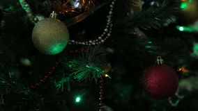 Christmas and New Year tree decoration, garland and toys stock video footage