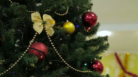 Christmas and New Year tree decoration, garland and toys stock video