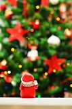 christmas eve and snowman with garlands and lights Royalty Free Stock Photography