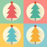 Christmas (new year) tree flat design icon set Stock Photography