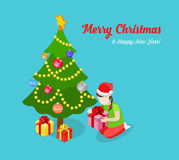 Christmas New Year tree girl unpack gift flat isometric vector Royalty Free Stock Photos