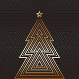 Christmas and New Year tree greeting card, art-deco style design Royalty Free Stock Photo