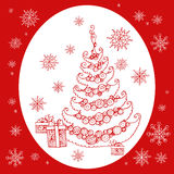 Christmas new year tree. Christmas and New Year. Hand draw doodle. Vector greeting card Stock Photography