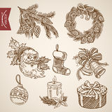 Christmas New Year tree handdrawn vintage retro vector. Santa fir tree branch ring bell candle wreath. Christmas New Year handdrawn engraving style template Stock Images