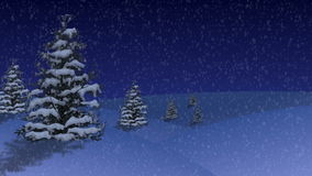 Christmas and New Year trees on snow hills. Cartoon style. Background animation royalty free illustration